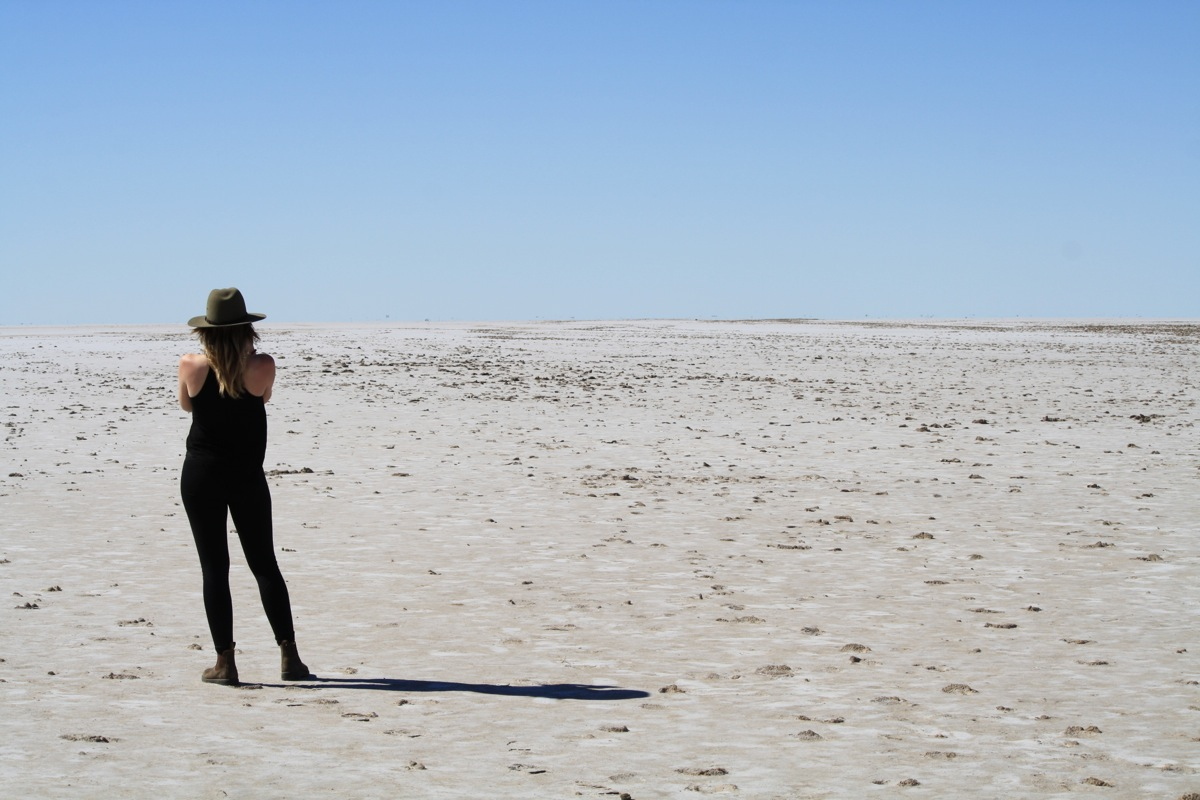 Smasha attempting a swim in Lake Eyre