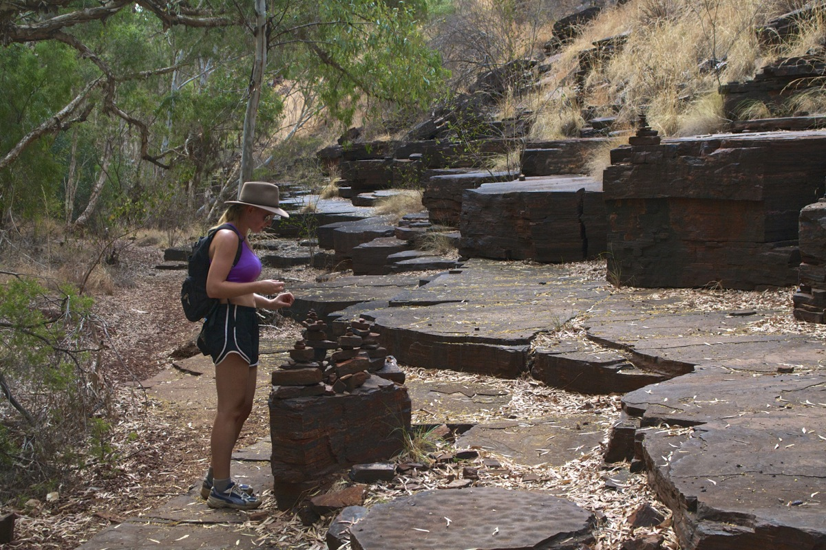 Inspecting rock piles at Dale's Gorge