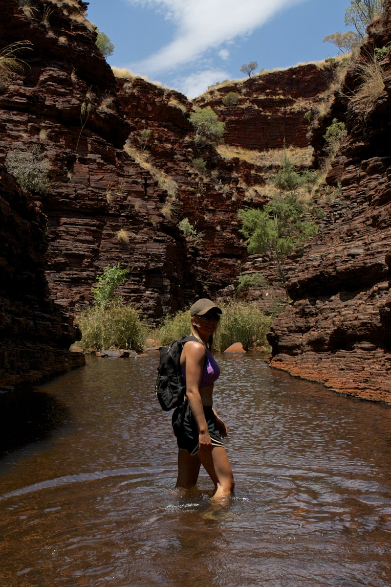 Hiking ie wading through the gorge - but it was hot so it was nice