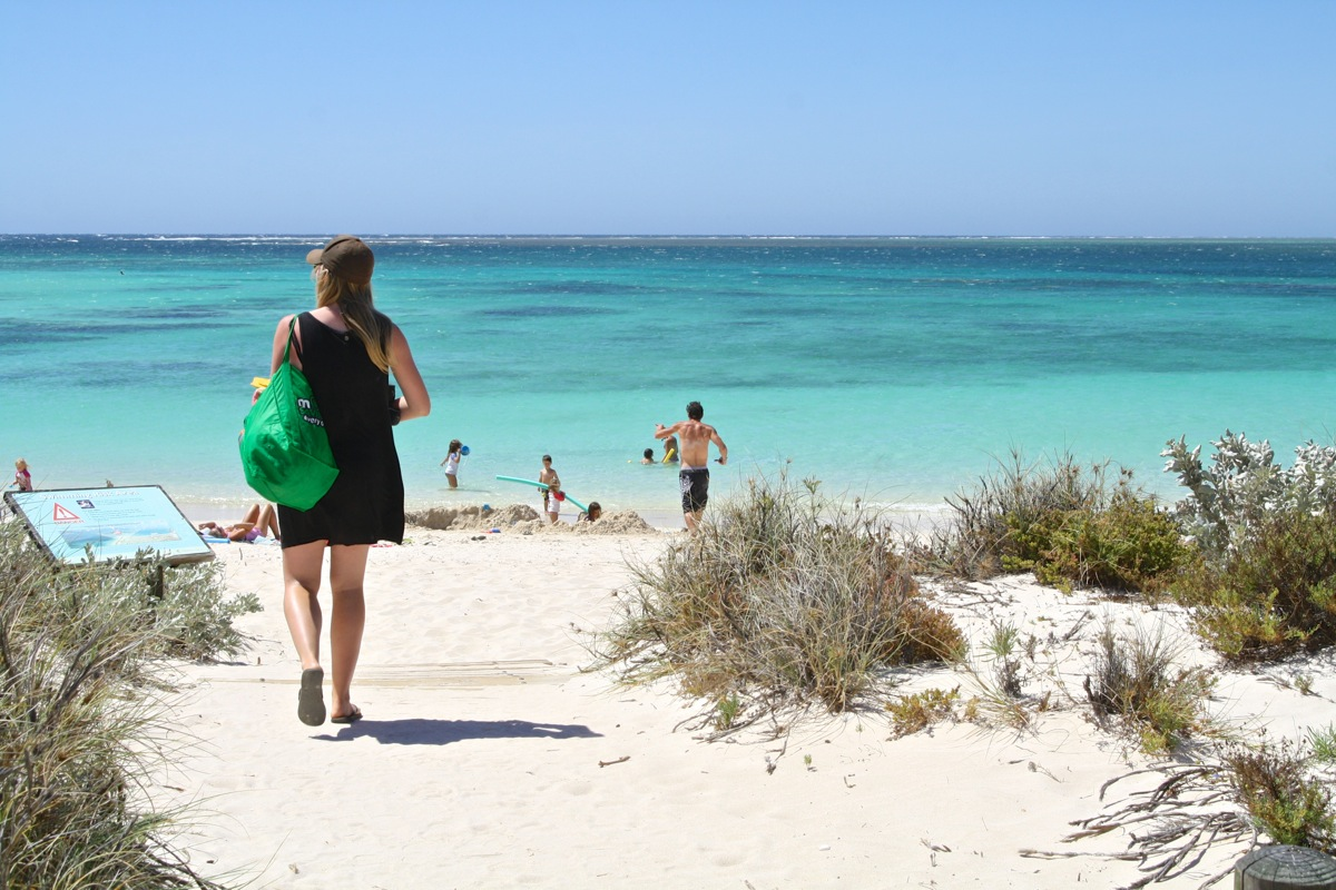 Heading down to the beach at Turquoise Bay