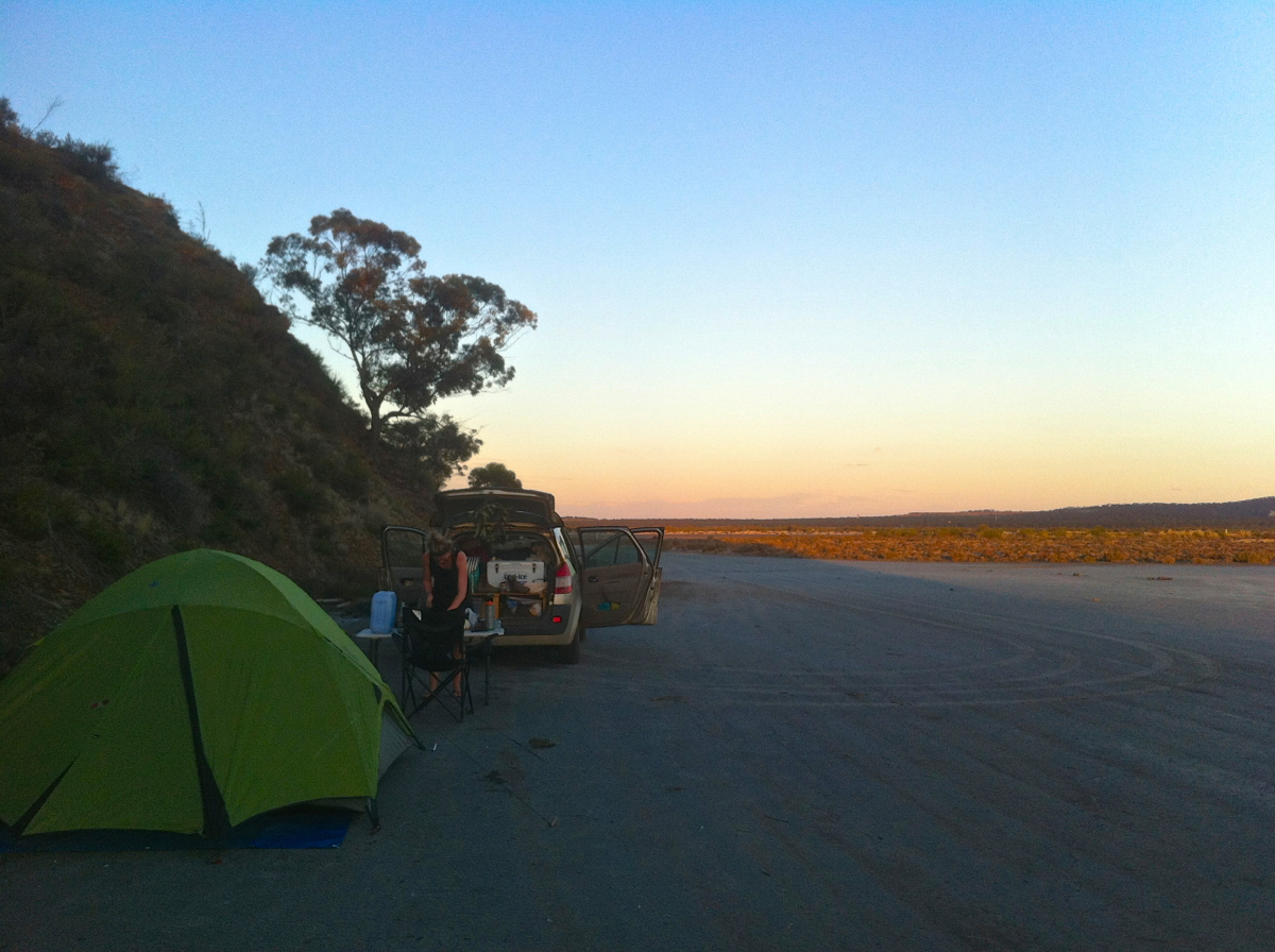 Making camp just outside of Norseman at the start of the Nullarbor
